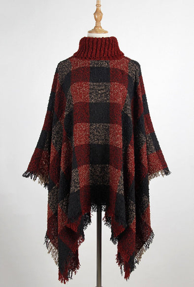 Red Pullover Plaid Turtleneck Cloak With Tassel Sweater | TeresaClare