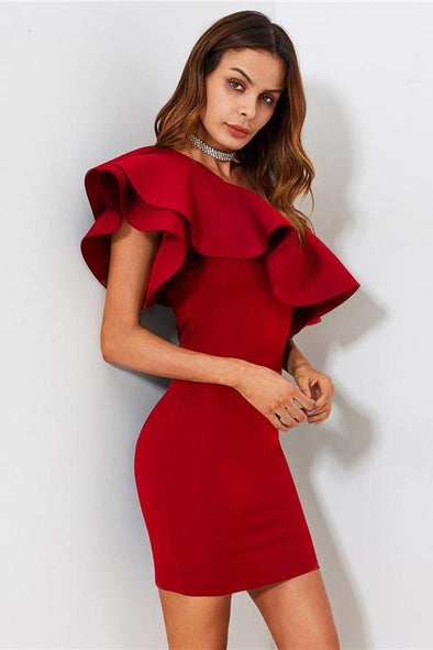 Red Ruffle Flounce One Shoulder Form Fitting Fashion Dress | TeresaClare