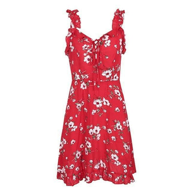 Red Ruffle Neck Strap Print Backless Shirred Tie Up Mini Dress | TeresaClare