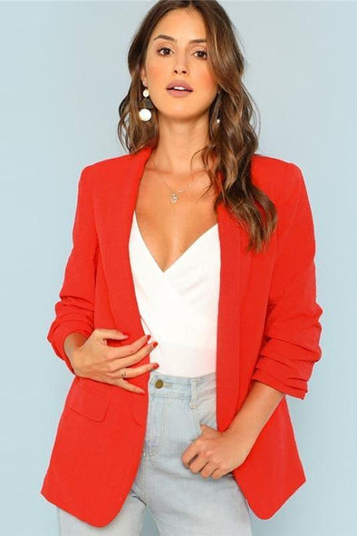 Red Shawl Collar Longline Single Breasted Pocket Blazer | TeresaClare