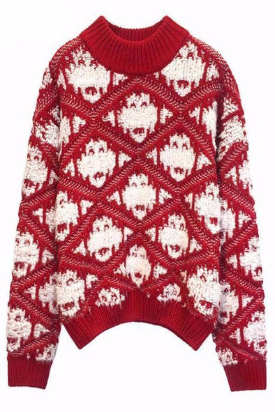 Red Short Cotton O-Neck Sweater With Argyle Patterns | TeresaClare