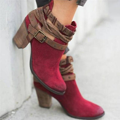 Red Short Spring Autumn High Heel Female Rivet Buckle Boots | TeresaClare