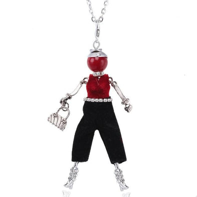 Red Silver Color Chain Crystal Rhinestone Girl Pendant Necklace | TeresaClare