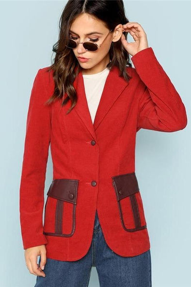 Red Single Button Up Notched Collar Longline Solid Blazer | TeresaClare