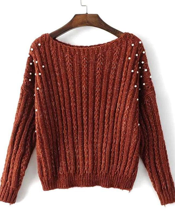 Red Slash Neck Women's Pullover Sweater With Beading | TeresaClare