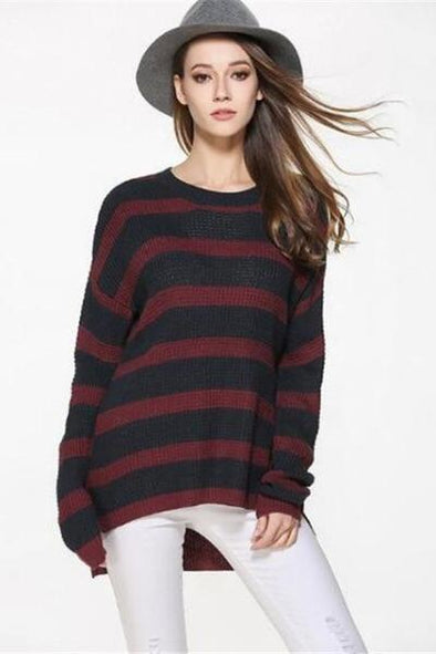 Red Solid Knitted Pullovers Casual Slim Sweater | TeresaClare