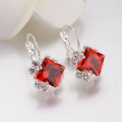 Red Square Luxury Rhinestone Round Square Star Patterned Crystal Drop Earrings | TeresaClare