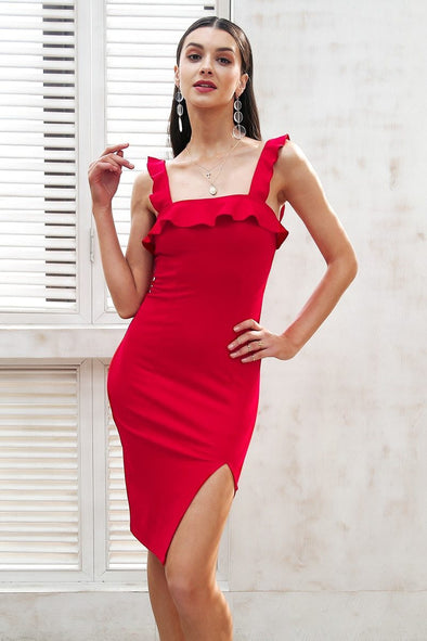 Red Strap Ruffle Sexy Bodycon Backless Skinny Midi Dress | TeresaClare