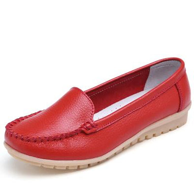 Red Summer New Fashion Leather Flats With Cut-Outs | TeresaClare