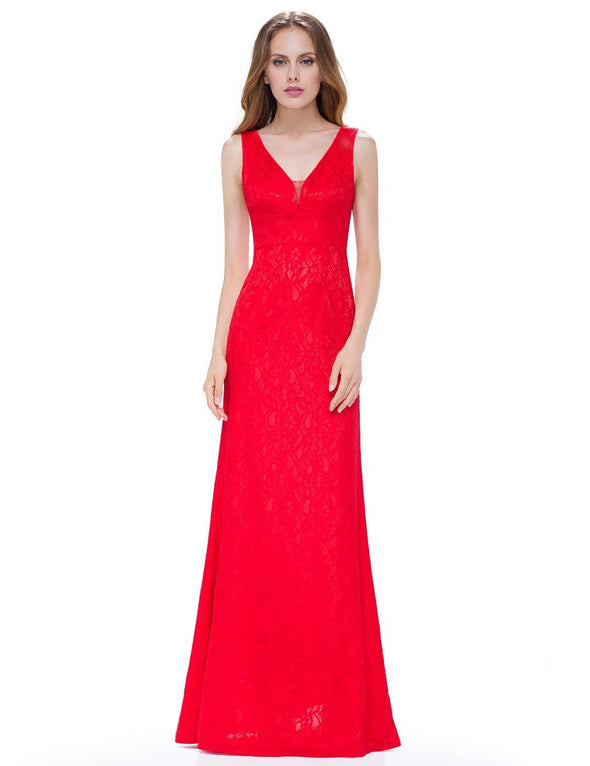 Red Trumpet/Mermaid Lace V-Neck Floor-Length Evening Dress | TeresaClare