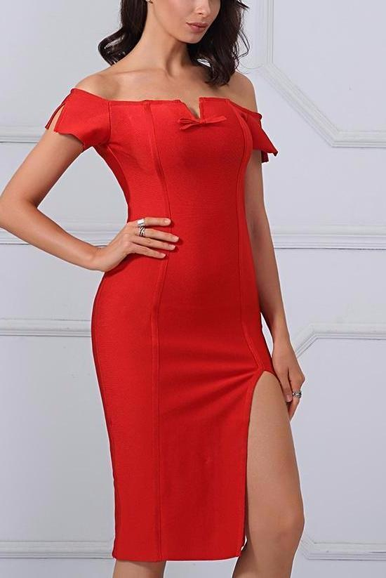 Red V Neck Side Split Off the Stanplacenin Shoulder Dress | TeresaClare