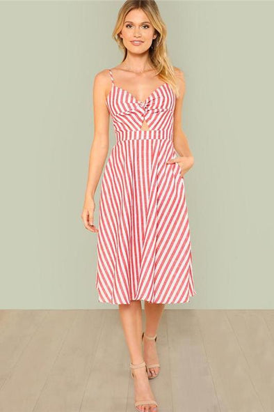 Red Vacation Beach Backless Twist Front Cutout Fashion Dress | TeresaClare