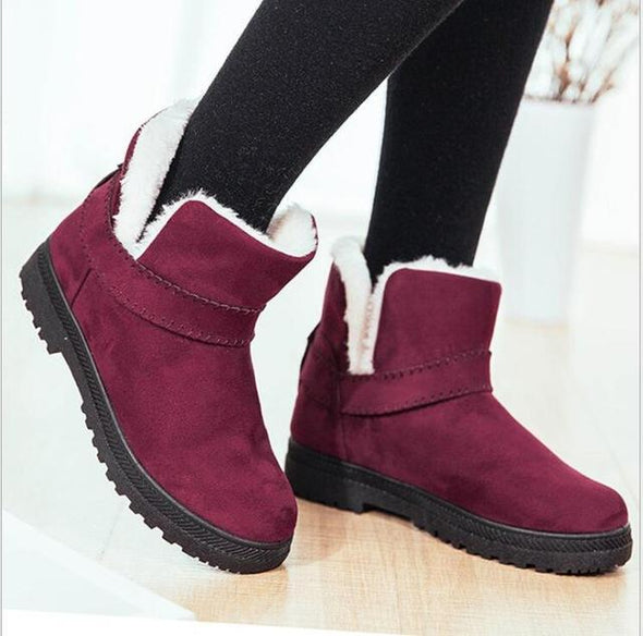 Red Warm Cotton Snow Boots Platform Retro | TeresaClare
