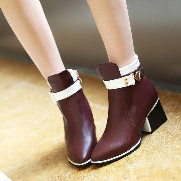 Red Women Sexy Fashion PU Zipper Ankle Boots | TeresaClare