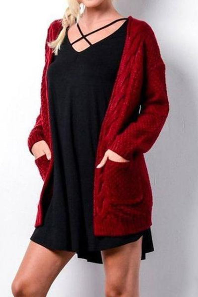 Red Women's Long Sleeve Big Pocket Twist Long Cardigan Sweater | TeresaClare