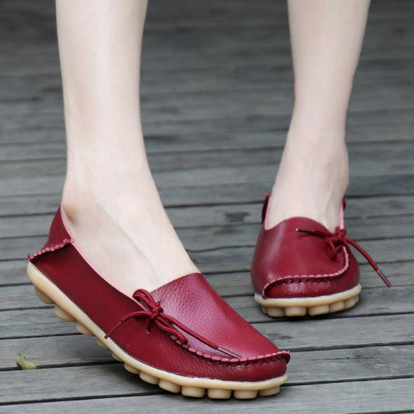 Red Women's Moccasins Loafers Footwear Leather Flats | TeresaClare