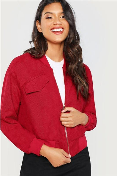 Red Zip Up Solid Casual Stand Collar Plain Jacket | TeresaClare