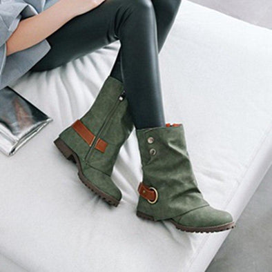 Retro Boots PU Leather Zipper Ankle Boots | TeresaClare