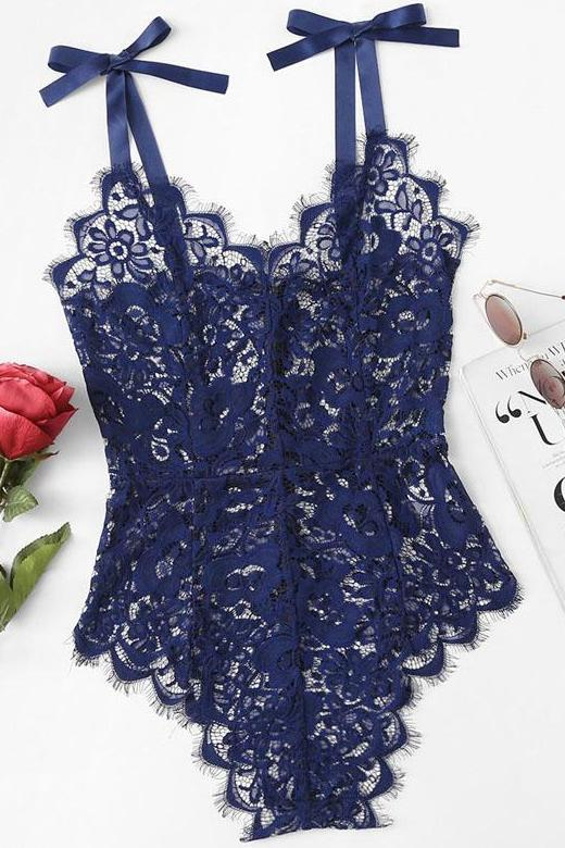 Ribbon Tie Shoulder Floral Lace Bodysuit With Zipper | TeresaClare