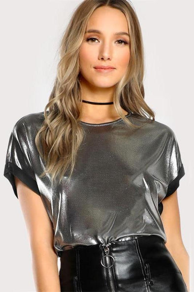 Roll Cut Coated Silver Short Sleeve O Neck T-Shirt | TeresaClare
