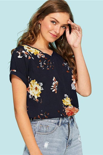 Roll Up Sleeve Floral Short Roll Up Sleeve Blouse | TeresaClare