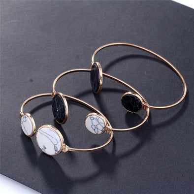 Round Faux Marble Cuff Bangles Stone Open Bracelet | TeresaClare