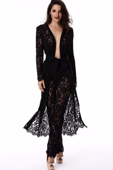 Royal Luxury Black Lace Coat Sashes Dress | TeresaClare