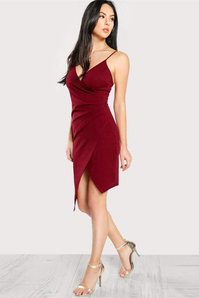 Ruched Overlap Form Fitting Sleeveless Fashion Dress | TeresaClare