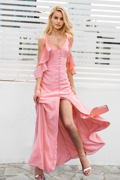 Ruffle Chiffon Sexy High Split Maxi Long Party Dress | TeresaClare