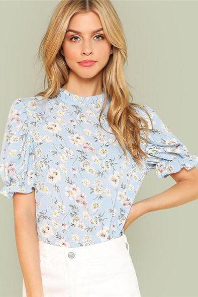 Ruffle Floral Blue Short Puff Sleeve Blouse | TeresaClare