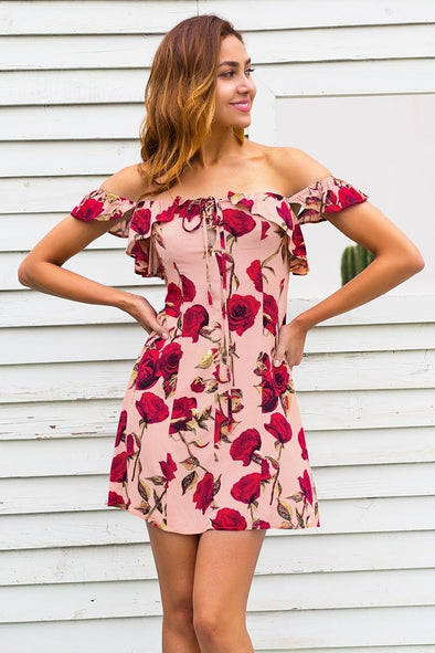 Ruffle Off Shoulder Lace Up Floral Print Mini Dress | TeresaClare