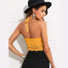 Scallop Laser Cut Suede Halter Backless Crop Top | TeresaClare