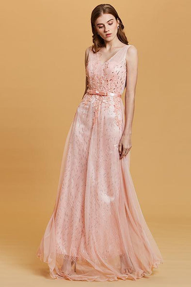 Sequins Pink Sleeveless Floor Length A-Line Prom Dress | TeresaClare