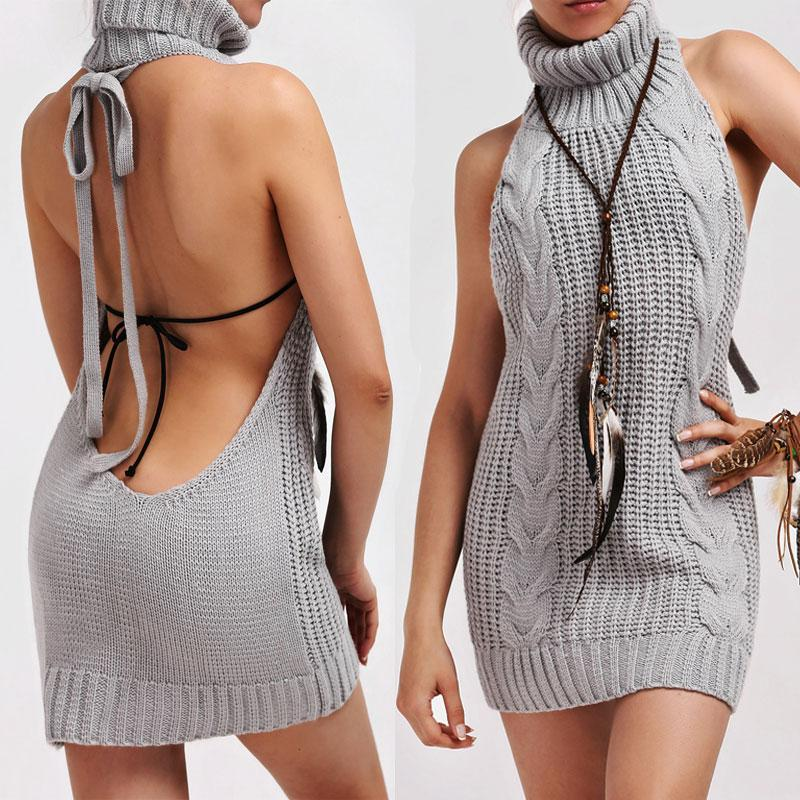 335fef03e45 Shop Sexy Backless Knitted Turtleneck Virgin Killer Sweater Now ...