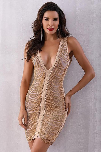 Sexy Deep V-Neck Sleeveless Tassel Bandage Dress | TeresaClare