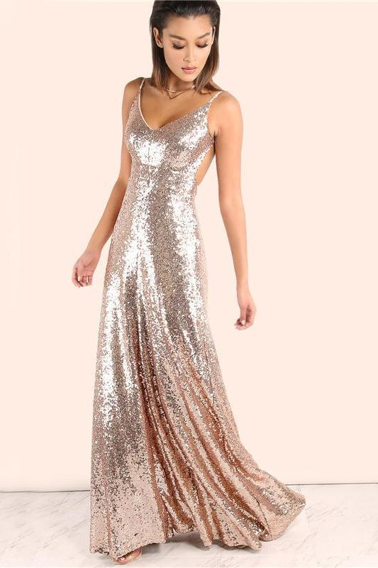 Sexy Empire Sequined Party Maxi Backless Fashion Dress | TeresaClare