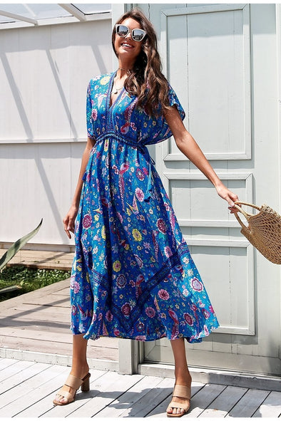 Sexy Floral Print Blue Maxi Tie Up Ethnic Dress | TeresaClare