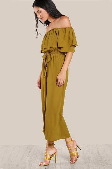 Sexy Flounce Culotte Off Shoulder Yellow Jumpsuit | TeresaClare