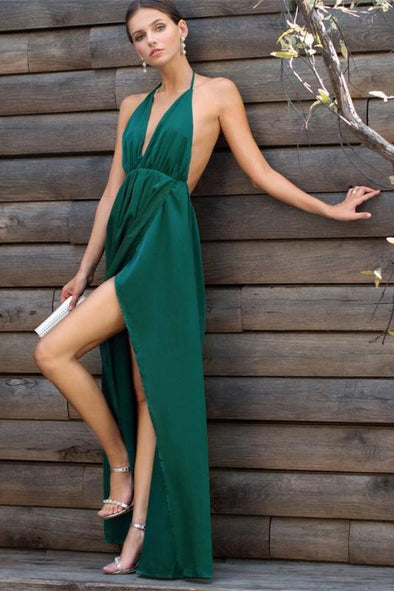 Sexy High Slit Satin Maxi Party Plunge Neck Fashion Dress | TeresaClare