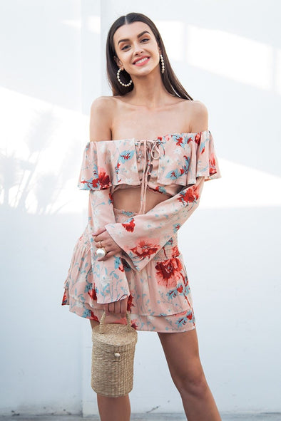 Sexy Off Shoulder Flare Sleeve Lace Up Boho Short Dress | TeresaClare