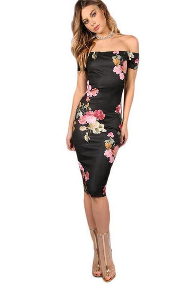 Sexy Party Bodycon Off Shoulder Dress Black Fashion Dress | TeresaClare