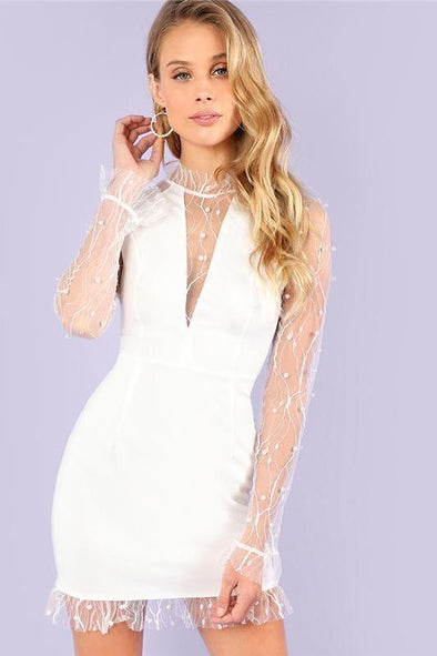 Sexy Pearl Beading Vine Mesh Panel Ruffle Fashion Dress | TeresaClare