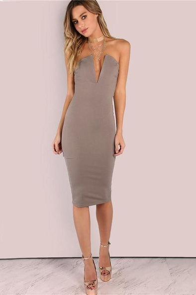 Sexy Plunging Bust Bandeau Bodycon Midi Fashion Dress | TeresaClare