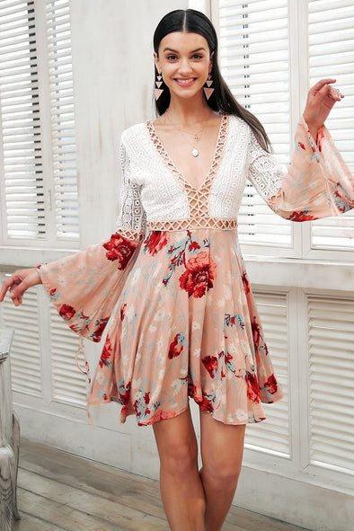 Sexy V Neck Lace Floral Short Dress | TeresaClare