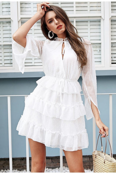 Sexy V Neck Ruffle White High Waist Lace Up Dress | TeresaClare