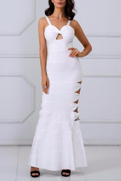 Sexy White Spaghetti Strap Clubwear Long Dress | TeresaClare