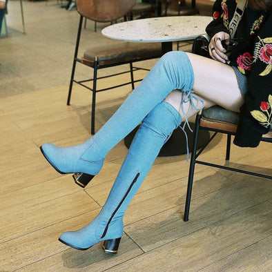 Sexy Women Over The Knee High Boots Denim High Heel | TeresaClare