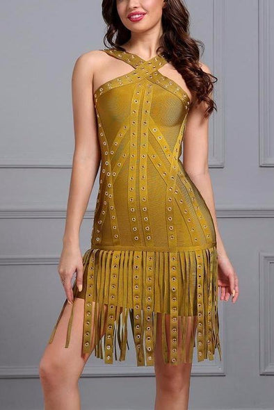 Sexy Yellow Sleeveless Sequins Tassel Celebrity Club Bodycon Dress | TeresaClare