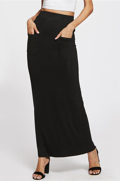 Sheath Basic Maxi Casual Pockets Front Pencil Slim Skirt | TeresaClare