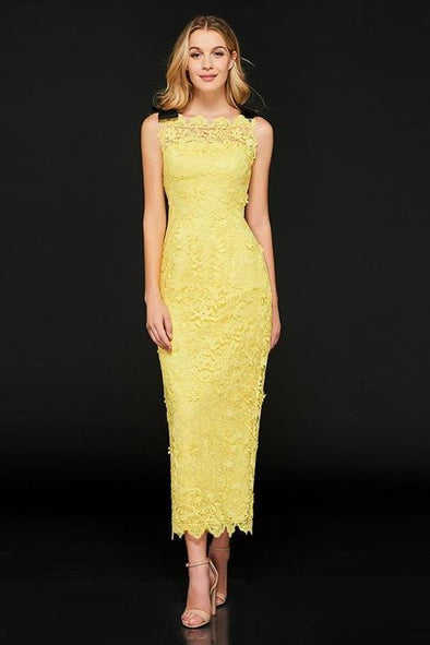 Sheath Bright Yellow Lace Sleeveless Ankle Length Prom Dress | TeresaClare